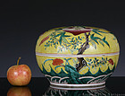 GUANGXU FAMILLE ROSE YELLOW GROUND PEACHES COVERED BOX