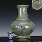 19TH CELADON GROUND FAMILLE ROSE FLORAL GLOBULAR VASE