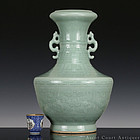 19TH C CELADON INCISED ARCHAISTIC LARGE GLOBULAR VASE