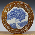 19TH C INLAID HARDWOOD STOOL, B&W PORCELAIN PLAQUE