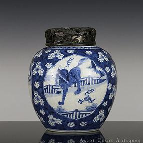 18TH C KANGXI BLUE AND WHITE RUI SHOU JAR