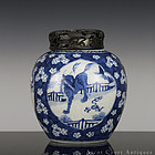 18TH C KANGXI BLUE AND WHITE RUI SHOU JAR