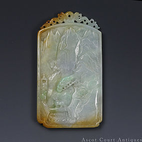 A CHINESE CARVED NATURAL JADEITE JADE PLAQUE