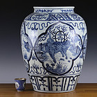 19th 20th Late Qing Republic Blue and White Ruishou Jar