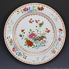18th C Qianlong Famille Rose Grisaille Export Plate