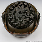 19th C Bronze Handwarmer w Reticulated Dragon Cover