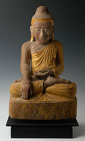 Early 19th C., Burmese Wooden Seated Buddha