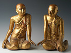 19th C., A Pair of Burmese Wooden Seated Disciples