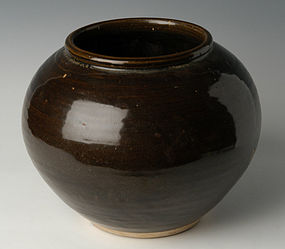 Yuan Dynasty, Chinese Pottery Brown Glazed Jar