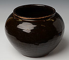 Chinese Dark-Brown Glazed Jar in Globular Form