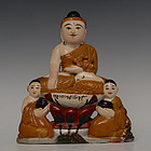 Burmese Soapstone Sitting Buddha with Disciples