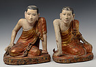 Early 19th C., A Pair of Burmese Wooden Seated Disciples