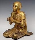 19th Century, Burmese Wooden Seated Disciple