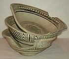 14th - 16th C., Triple Sukhothai Iron Black Underglaze Bowls