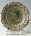 Sukhothai Celadon Plate with Leafy Scrolls Design