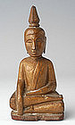 19th Century, Laos Wooden Sitting Buddha