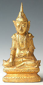 Early 20th Century, Burmese Wooden Crowned Buddha