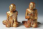 19th C., Mandalay, A Pair of Burmese Wooden Disciples
