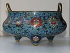 A Chinese cloisonne enamel incense burner.