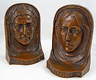 Dante and Beatrice Arts and Crafts Bronze Bookends
