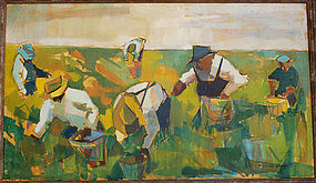 William Barnett Modernist Field Workers O/C 1940's