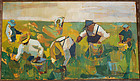 William Barnett Modernist Field Workers O/C 1940