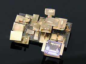Modernist 14K Gold And Kunzite Brooch