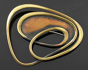Art Smith Modernist Copper and Brass Brooch