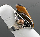 Rebajes Sterling Modernist Ring Tiger Eye