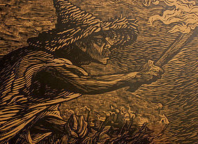 Leopoldo Mendez Modernist Mexican Woodcut Torches
