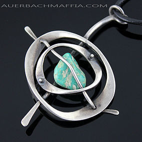 Walter Rhodes Modernist Sterling and Turquoise Necklace