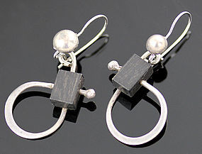 Henry Steig Modernist Sterling and Wood Earrings