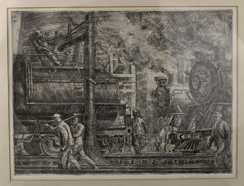 "Reginald Marsh Lithograph ""Locomotives Watering"" Modernist Realist"