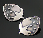 Janiye Sterling Silver StrawberryEarrings 1950 Boston Japan Modernist