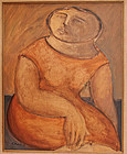 Arnaldo Miccoli Italian American Modernist Oil on Panel