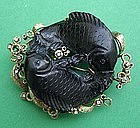 Koi Fish Brooch - Carved Black Coral 14k  & Diamonds