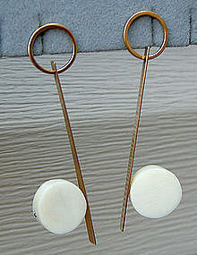 Betty Cooke Modernist 14k Gold and Ivory Earrings