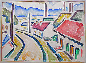 Victor David Hecht Early Modernist Watercolor