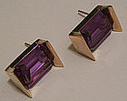 Mexican Modernist 14K Gold & Alexandrite Earrings