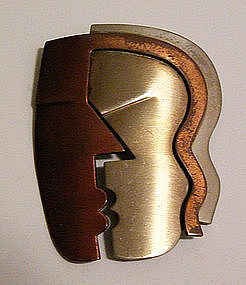 Rebajes Modernist Copper & Steel KISS Deco Brooch