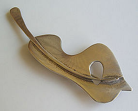 Ed Wiener Modernist Sterling Vintage Guitar Brooch