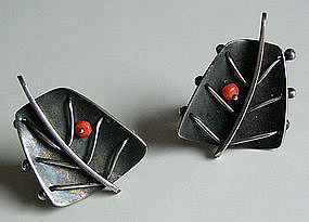 Ed Wiener Modernist Sterling Jewelry Earrings w/Coral