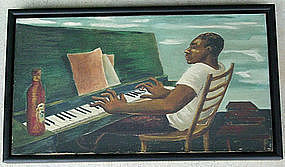 WPA 1930s Black Man Playing Piano Painting