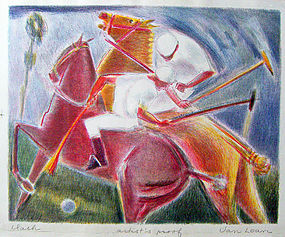 Dorothy Van Loan Modernist Polo Players Lithograph