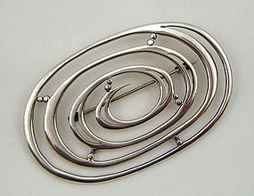 Toyokoki Modernist Sterling Silver Brooch - Japan