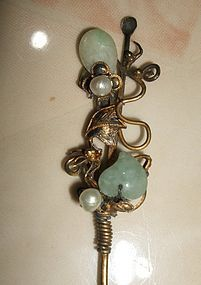 Chinese Jade and Gilt hairpin