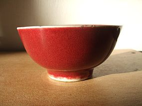 Chinese Red red Monochrome bowl with fish
