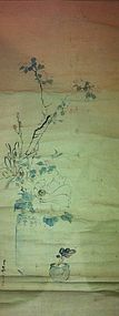 Chinese old brush ink painting of vase with flowers