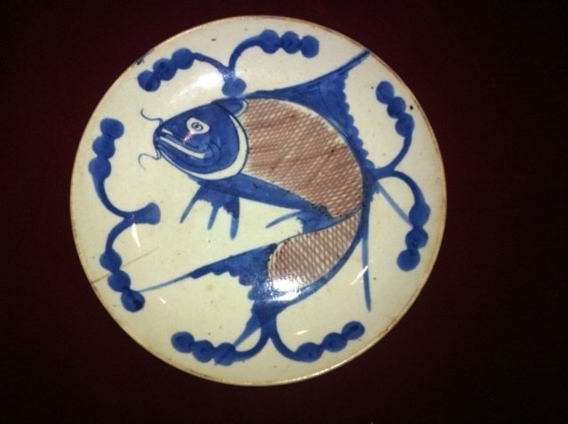 Early Qing fish blue and copper red plate