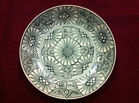 Qing Dynasty era flora blue and white plate